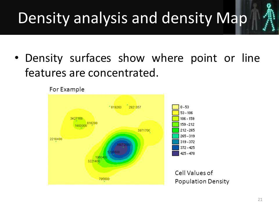 Density surfaces show where point or line features are concentrated.