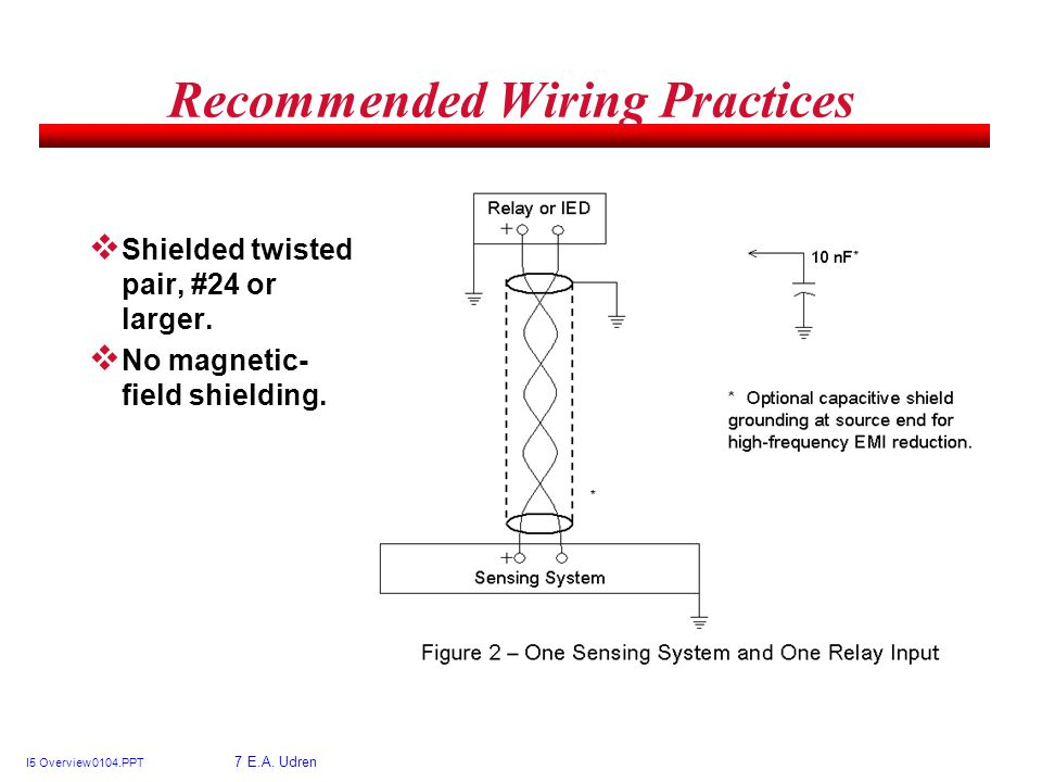 I5 Overview 0104.PPT 7 E.A. Udren Recommended Wiring Practices Shielded twisted pair, #24 or larger. No magnetic- field shielding.