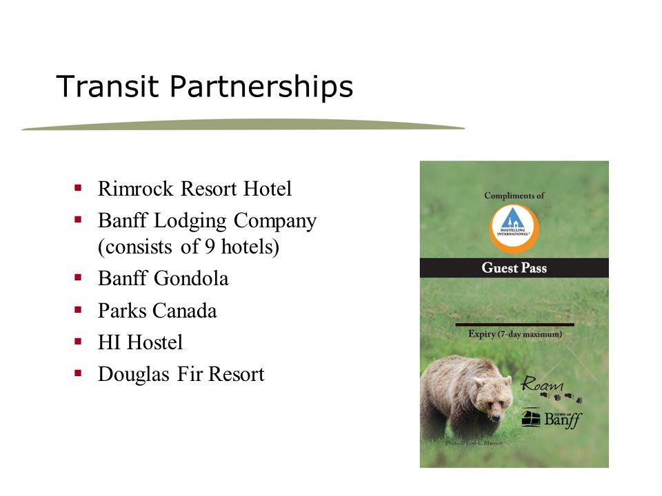 Transit Partnerships Rimrock Resort Hotel Banff Lodging Company (consists of 9 hotels) Banff Gondola Parks Canada HI Hostel Douglas Fir Resort