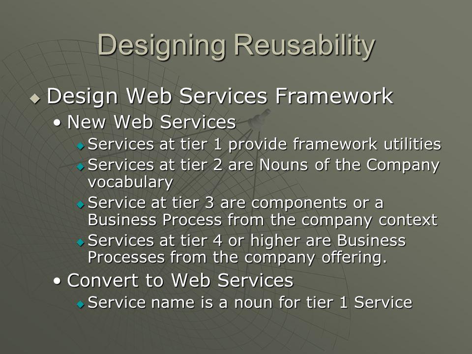 Designing Reusability Design Web Services Framework Design Web Services Framework New Web ServicesNew Web Services Services at tier 1 provide framewor