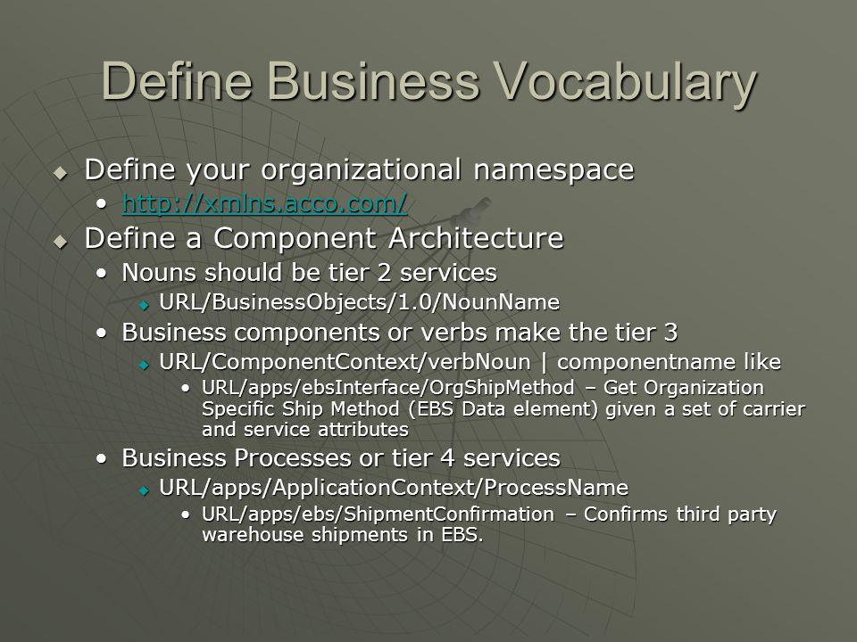 Define Business Vocabulary Define your organizational namespace Define your organizational namespace http://xmlns.acco.com/http://xmlns.acco.com/http: