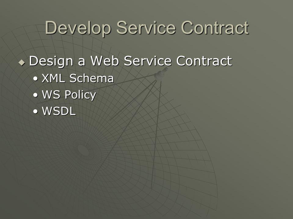 Develop Service Contract Design a Web Service Contract Design a Web Service Contract XML SchemaXML Schema WS PolicyWS Policy WSDLWSDL
