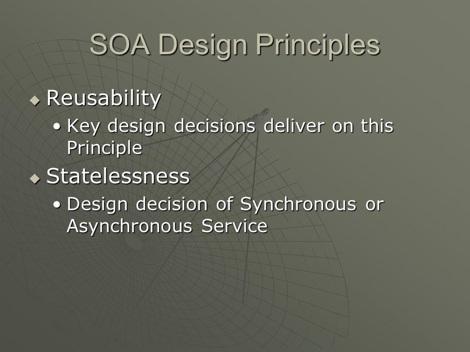 SOA Design Principles Reusability Reusability Key design decisions deliver on this PrincipleKey design decisions deliver on this Principle Statelessne