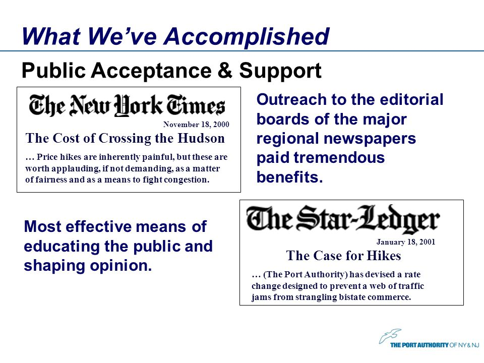 What Weve Accomplished Public Acceptance & Support Outreach to the editorial boards of the major regional newspapers paid tremendous benefits.