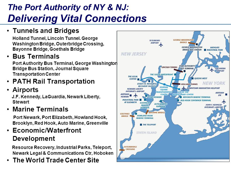 The Port Authority of NY & NJ: Delivering Vital Connections Tunnels and Bridges Holland Tunnel, Lincoln Tunnel.