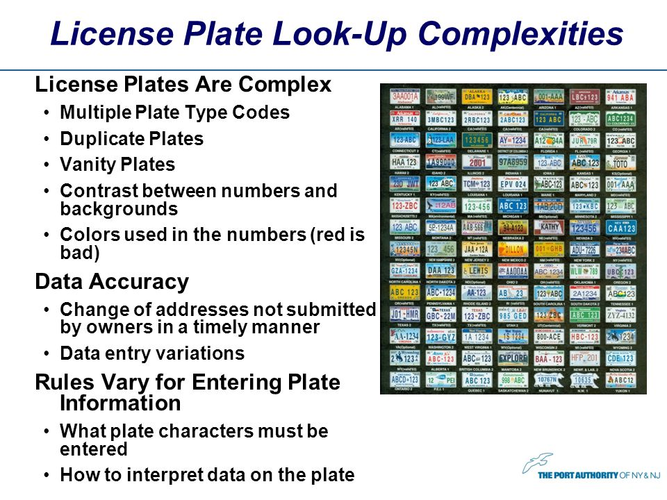 License Plate Look-Up Complexities License Plates Are Complex Multiple Plate Type Codes Duplicate Plates Vanity Plates Contrast between numbers and backgrounds Colors used in the numbers (red is bad) Data Accuracy Change of addresses not submitted by owners in a timely manner Data entry variations Rules Vary for Entering Plate Information What plate characters must be entered How to interpret data on the plate