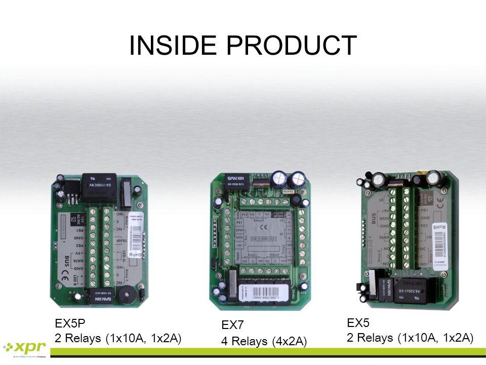 INSIDE PRODUCT EX7 4 Relays (4x2A) EX5P 2 Relays (1x10A, 1x2A) EX5 2 Relays (1x10A, 1x2A)