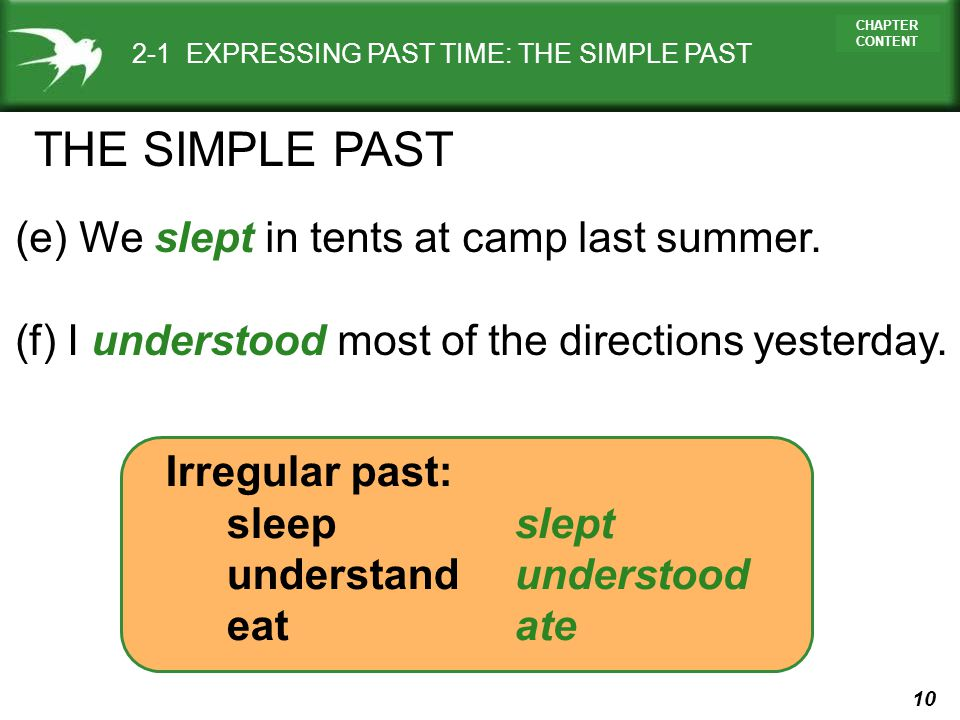 10 CHAPTER CONTENT 2-1 EXPRESSING PAST TIME: THE SIMPLE PAST (e) We slept in tents at camp last summer. (f) I understood most of the directions yester