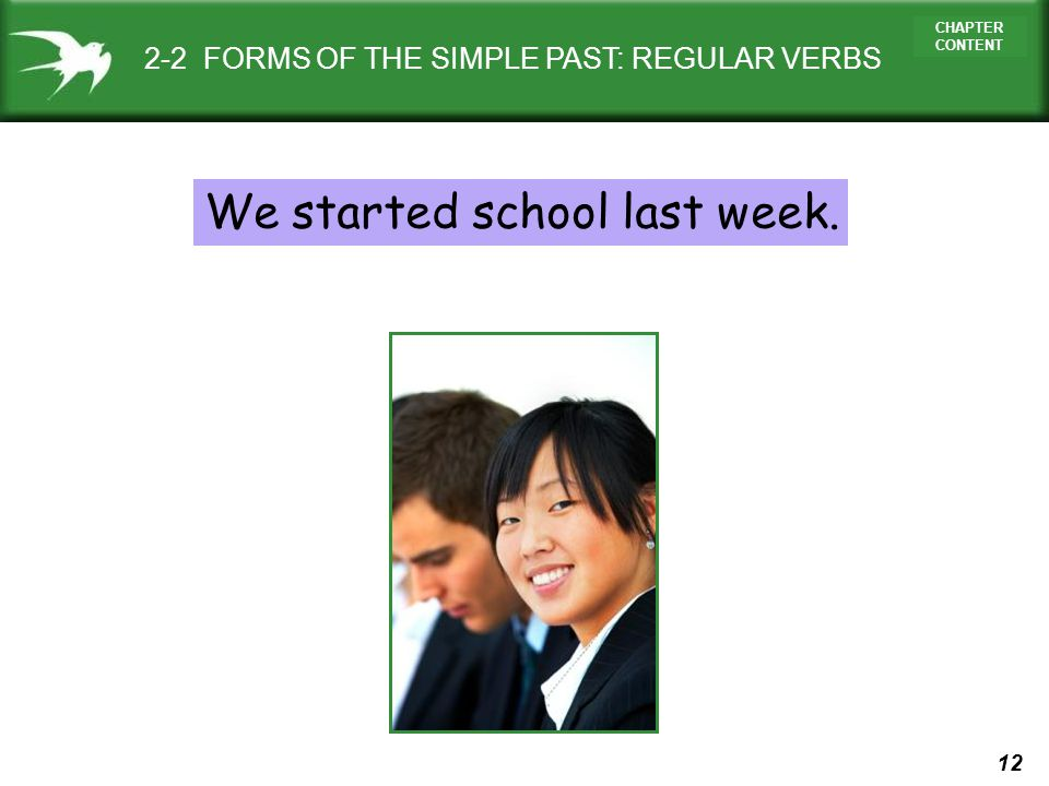 12 CHAPTER CONTENT We started school last week. 2-2 FORMS OF THE SIMPLE PAST: REGULAR VERBS