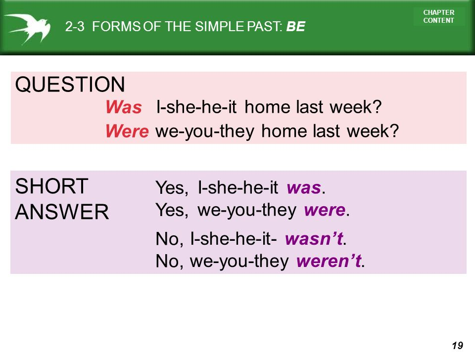 19 CHAPTER CONTENT QUESTION I-she-he-it home last week? Was 2-3 FORMS OF THE SIMPLE PAST: BE we-you-they home last week? Were SHORT ANSWER I-she-he-it