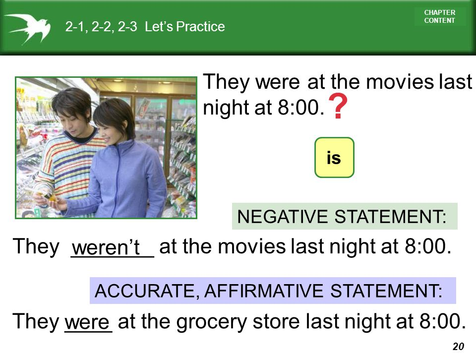 20 CHAPTER CONTENT They _______ at the movies last night at 8:00. 2-1, 2-2, 2-3 Lets Practice They ____ at the grocery store last night at 8:00. weren