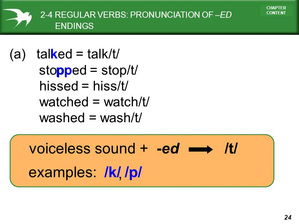 24 CHAPTER CONTENT voiceless sound + -ed /t/ (a) talked = talk/t/ stopped = stop/t/ hissed = hiss/t/ watched = watch/t/ washed = wash/t/ examples: k /
