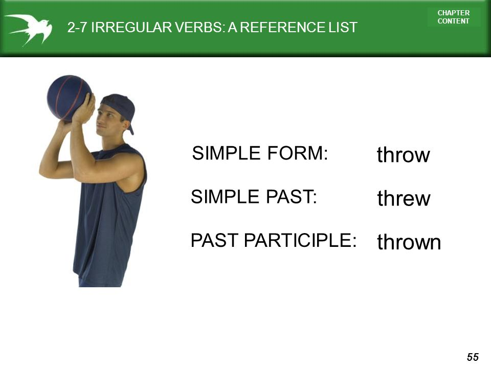 55 CHAPTER CONTENT 2-7 IRREGULAR VERBS: A REFERENCE LIST SIMPLE FORM: throw SIMPLE PAST: threw PAST PARTICIPLE: thrown