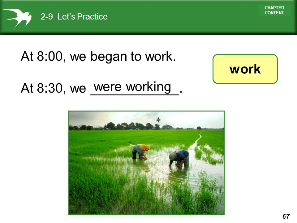 67 CHAPTER CONTENT 2-9 Lets Practice At 8:00, we began to work. At 8:30, we ____________. work were working