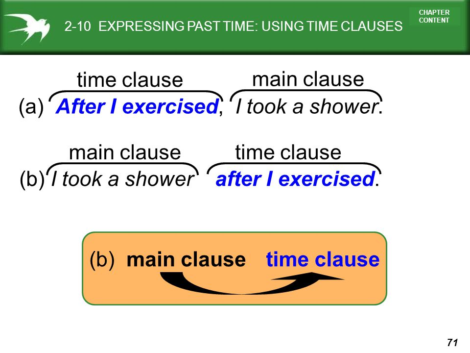 71 CHAPTER CONTENT 2-10 EXPRESSING PAST TIME: USING TIME CLAUSES (a) After I exercised, I took a shower. (b) I took a shower after I exercised. (b) ma