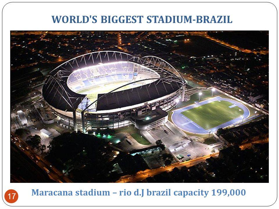 WORLD S BIGGEST STADIUM-BRAZIL Maracana stadium – rio d.J brazil capacity 199,000 16