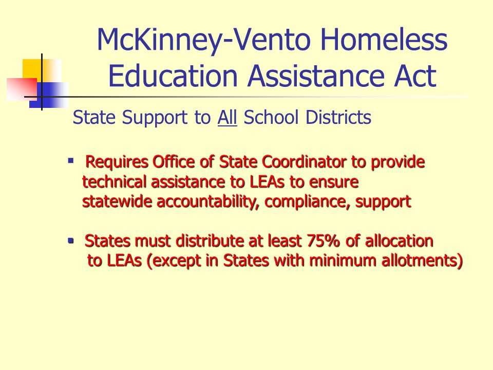 McKinney-Vento Homeless Education Assistance Act State Support to All School Districts Requires Office of State Coordinator to provide technical assistance to LEAs to ensure technical assistance to LEAs to ensure statewide accountability, compliance, support statewide accountability, compliance, support States must distribute at least 75% of allocation States must distribute at least 75% of allocation to LEAs (except in States with minimum allotments) to LEAs (except in States with minimum allotments)