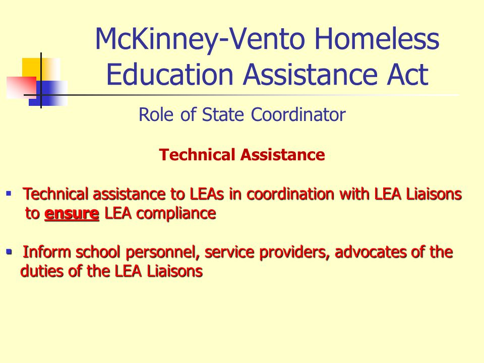 McKinney-Vento Homeless Education Assistance Act Role of State Coordinator Technical Assistance Technical assistance to LEAs in coordination with LEA
