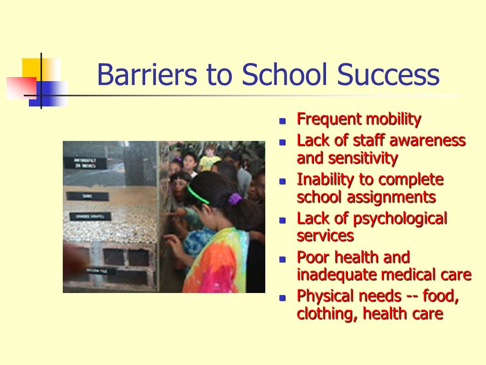 Access to Special Programs and Services Special Education Special Education Head Start Head Start Gifted and Talented Gifted and Talented Even Start Even Start Programs for English language learners Programs for English language learners Children experiencing homelessness have difficulty accessing the following programs and services