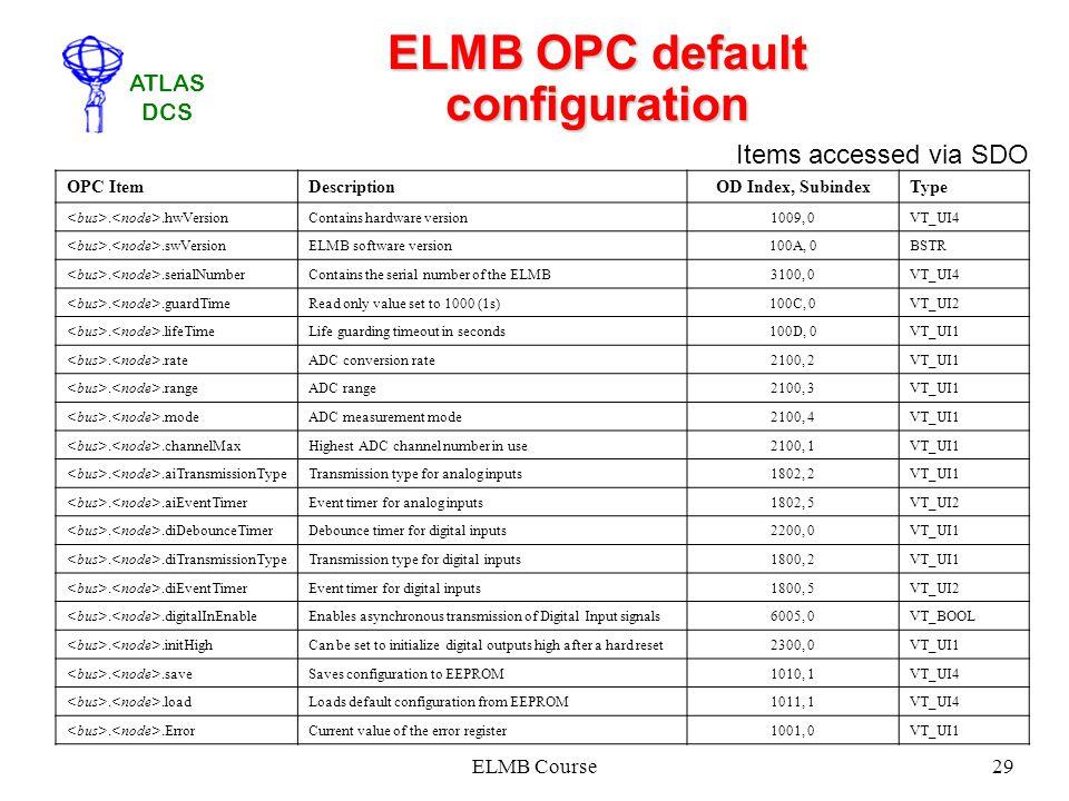 ATLAS DCS ELMB Course29 ELMB OPC default configuration OPC ItemDescriptionOD Index, SubindexType..hwVersionContains hardware version1009, 0VT_UI4..swV