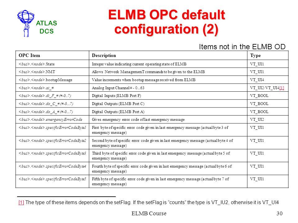 ATLAS DCS ELMB Course30 ELMB OPC default configuration (2) OPC ItemDescriptionType..StateInteger value indicating current operating state of ELMBVT_UI