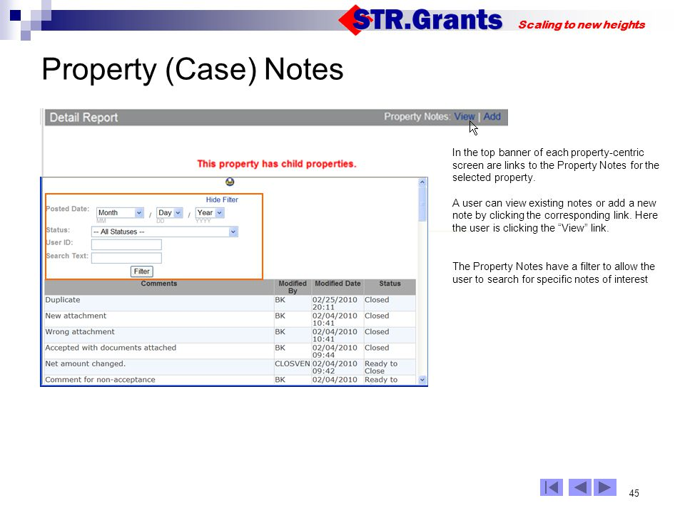 45 Scaling to new heights Property (Case) Notes In the top banner of each property-centric screen are links to the Property Notes for the selected property.