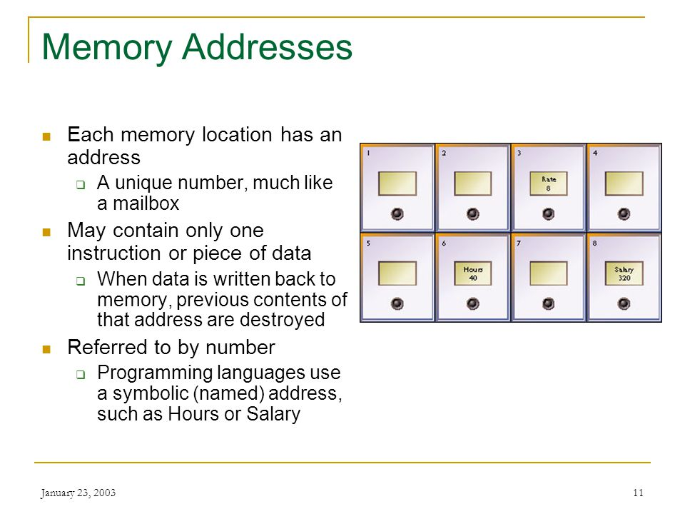 January 23, 200310 Memory Also known as primary storage and main memory Often expressed as random-access memory (RAM) Not part of the CPU Holds data a
