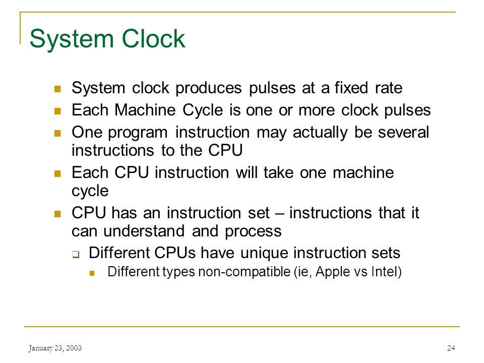 January 23, 200323 Machine Cycle - Example