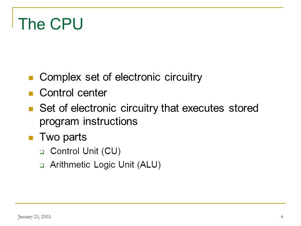 January 23, 20033 The CPU