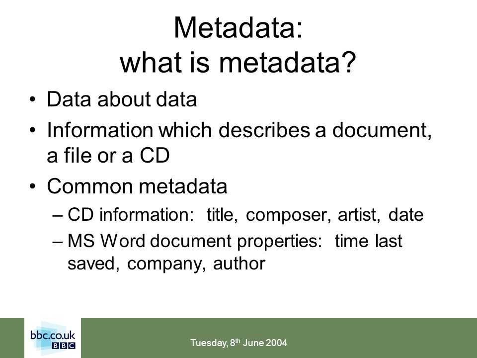 Tuesday, 8 th June 2004 Metadata: thesaurus terminology Preferred terms (UF subject headings, descriptors) –SNScope Notes –UFUsed For –BTBroader Term –NTNarrower Term –RTRelated Terms (See Also) Variant terms (UF non-preferred, entry terms) –USE(See)