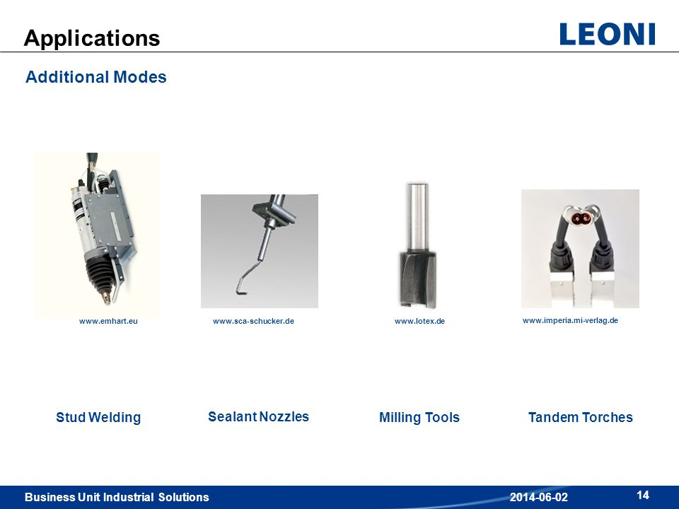 Business Unit Industrial Solutions 14 2014-06-02 Applications Additional Modes Stud WeldingMilling ToolsTandem Torches Sealant Nozzles www.lotex.de ww