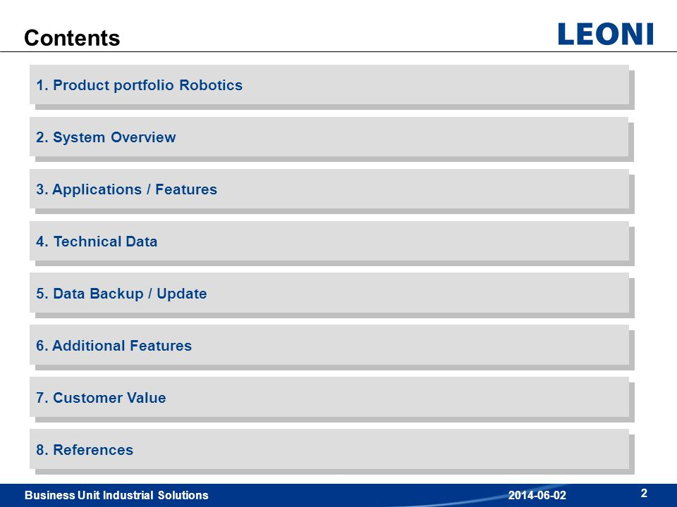 Business Unit Industrial Solutions 2 2014-06-02 Contents 3. Applications / Features 2. System Overview 1. Product portfolio Robotics 4. Technical Data