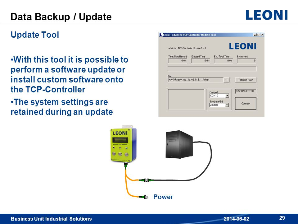 Business Unit Industrial Solutions 29 2014-06-02 Data Backup / Update Update Tool With this tool it is possible to perform a software update or instal