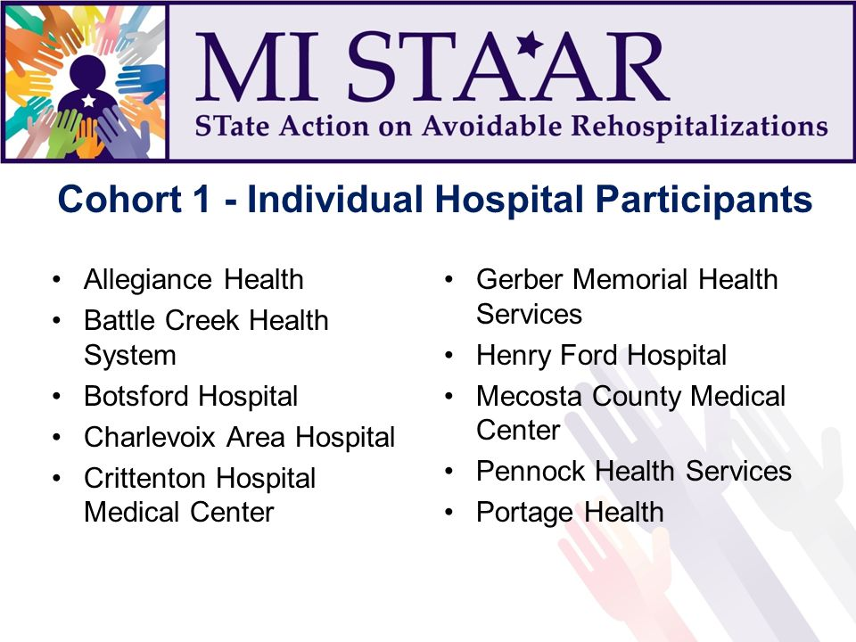 Cohort 1 - Individual Hospital Participants Allegiance Health Battle Creek Health System Botsford Hospital Charlevoix Area Hospital Crittenton Hospital Medical Center Gerber Memorial Health Services Henry Ford Hospital Mecosta County Medical Center Pennock Health Services Portage Health