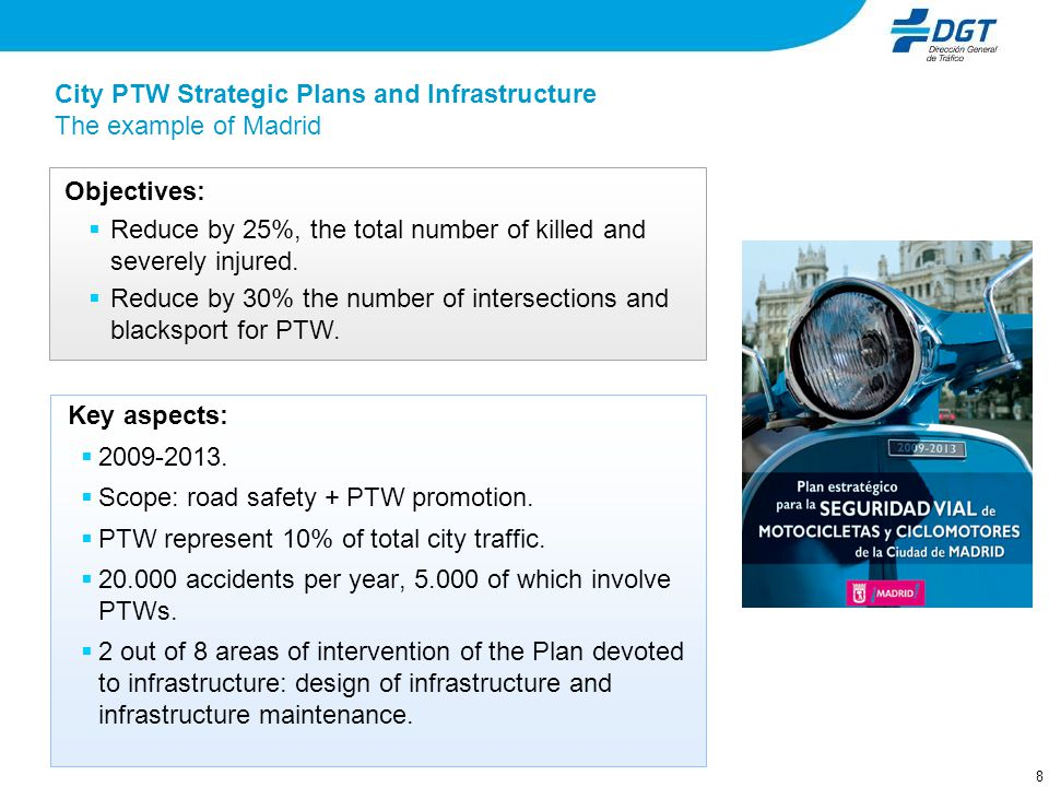 8 Key aspects: 2009-2013. Scope: road safety + PTW promotion. PTW represent 10% of total city traffic. 20.000 accidents per year, 5.000 of which invol