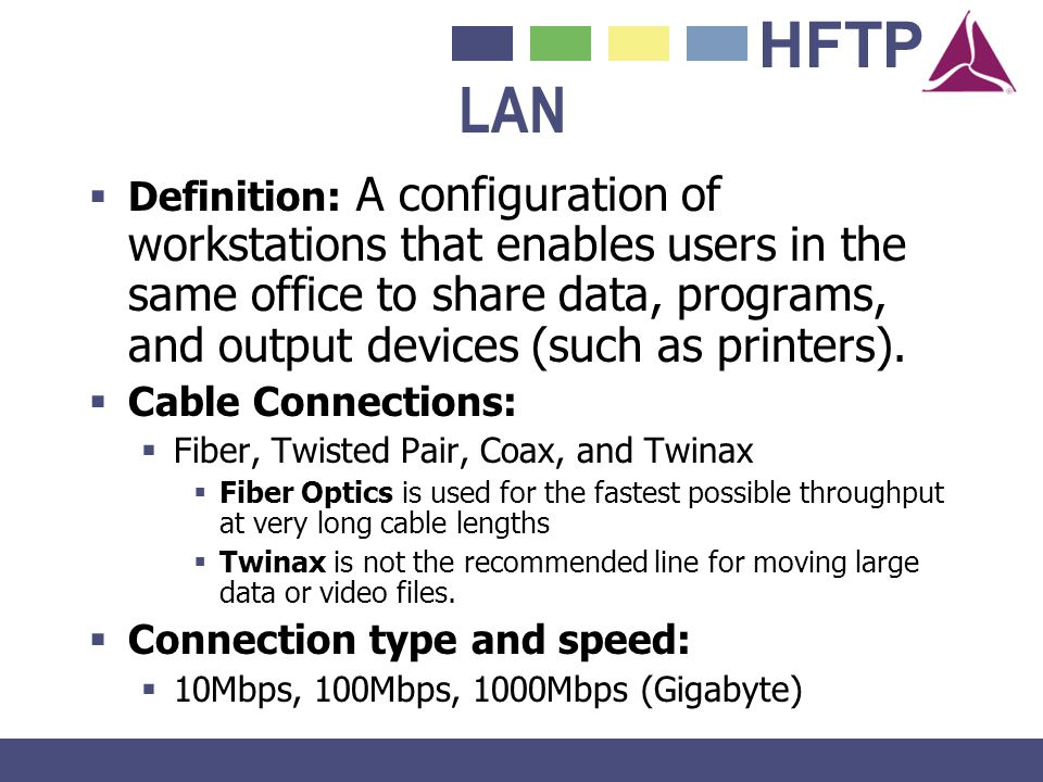 HFTP LAN Definition: A configuration of workstations that enables users in the same office to share data, programs, and output devices (such as printe