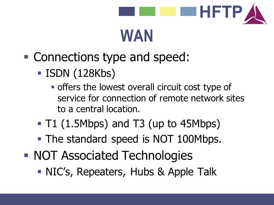 HFTP WAN Connections type and speed: ISDN (128Kbs) offers the lowest overall circuit cost type of service for connection of remote network sites to a
