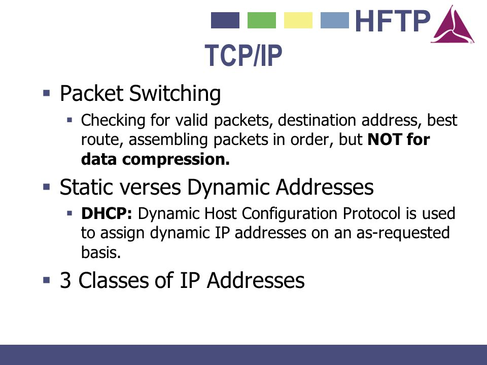 HFTP TCP/IP Packet Switching Checking for valid packets, destination address, best route, assembling packets in order, but NOT for data compression. S