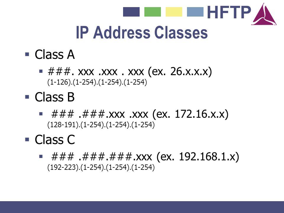 HFTP IP Address Classes Class A ###. xxx.xxx. xxx (ex. 26.x.x.x) (1-126).(1-254).(1-254).(1-254) Class B ###.###.xxx.xxx (ex. 172.16.x.x) (128-191).(1