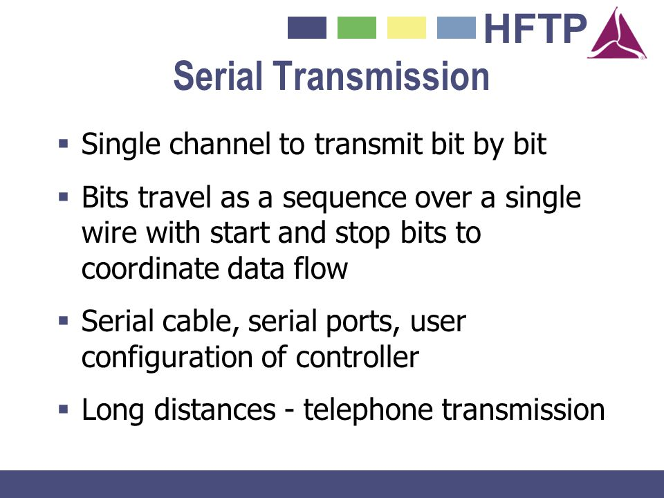 HFTP Serial Transmission Single channel to transmit bit by bit Bits travel as a sequence over a single wire with start and stop bits to coordinate dat