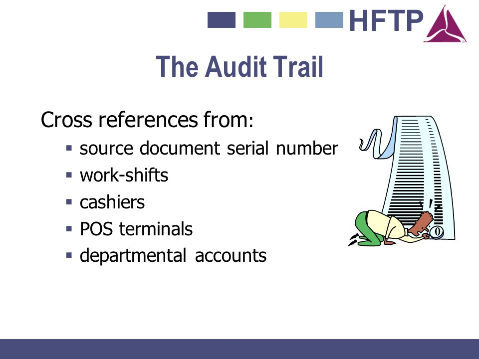 HFTP The Audit Trail Cross references from : source document serial number work-shifts cashiers POS terminals departmental accounts