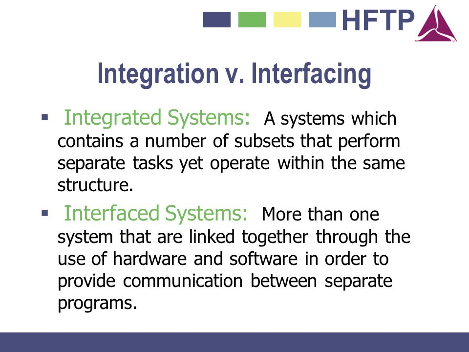 HFTP Integration v. Interfacing Integrated Systems: A systems which contains a number of subsets that perform separate tasks yet operate within the sa