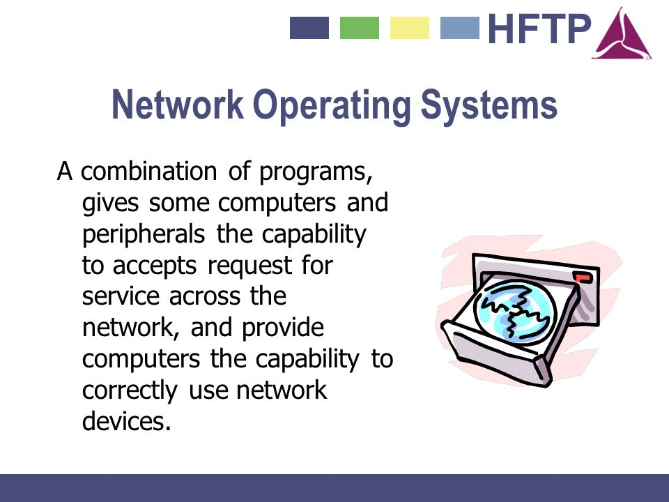 HFTP Network Operating Systems A combination of programs, gives some computers and peripherals the capability to accepts request for service across th