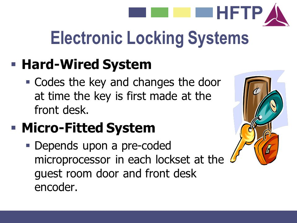 HFTP Electronic Locking Systems Hard-Wired System Codes the key and changes the door at time the key is first made at the front desk. Micro-Fitted Sys
