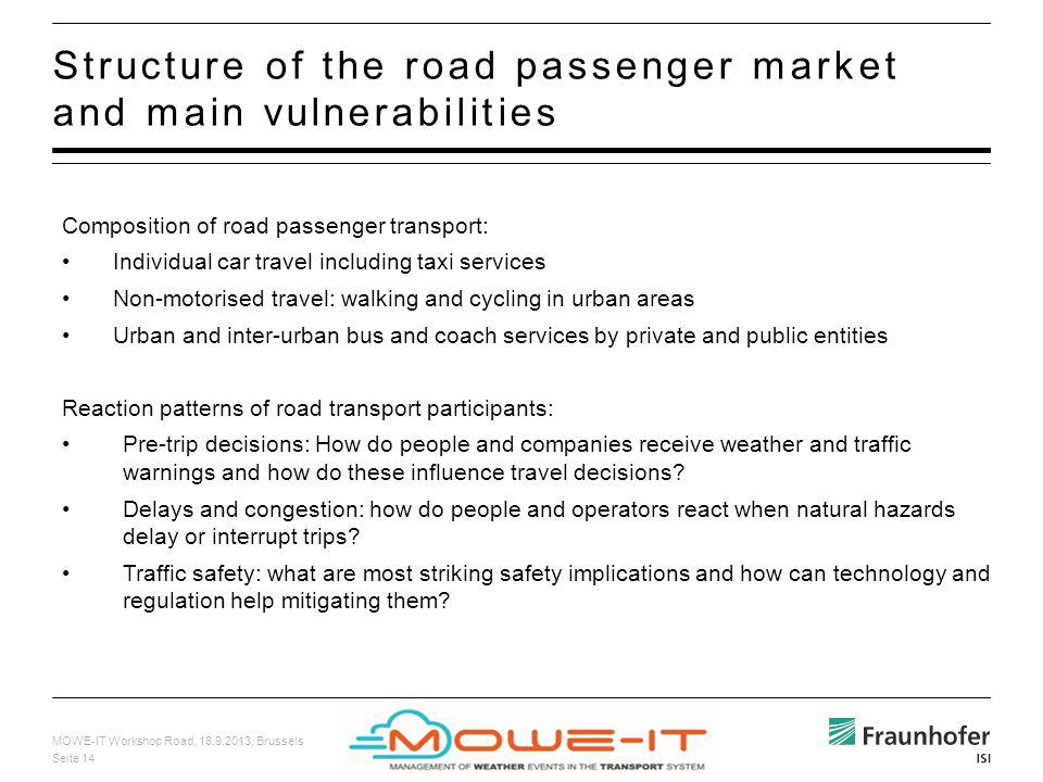 MOWE-IT Workshop Road, 18.9.2013, Brussels Seite 14 Structure of the road passenger market and main vulnerabilities Composition of road passenger tran