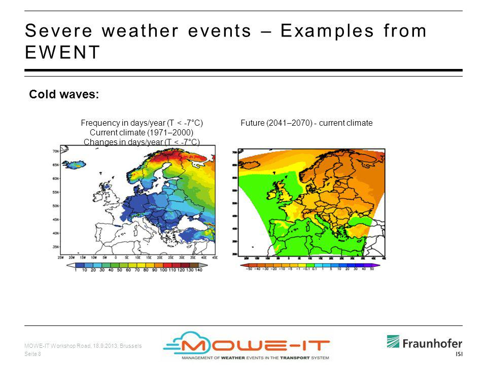MOWE-IT Workshop Road, 18.9.2013, Brussels Seite 8 Severe weather events – Examples from EWENT Cold waves: Frequency in days/year (T < -7°C) Current c