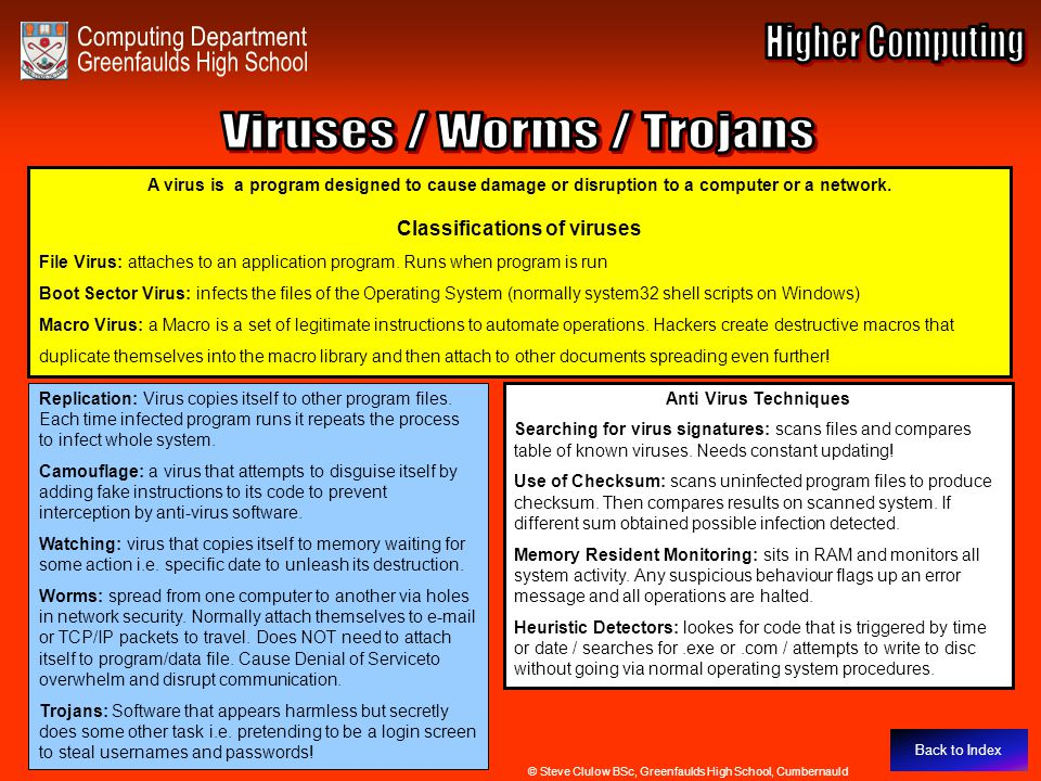 Viruses / Worms / Trojans Back to Index A virus is a program designed to cause damage or disruption to a computer or a network. Classifications of vir