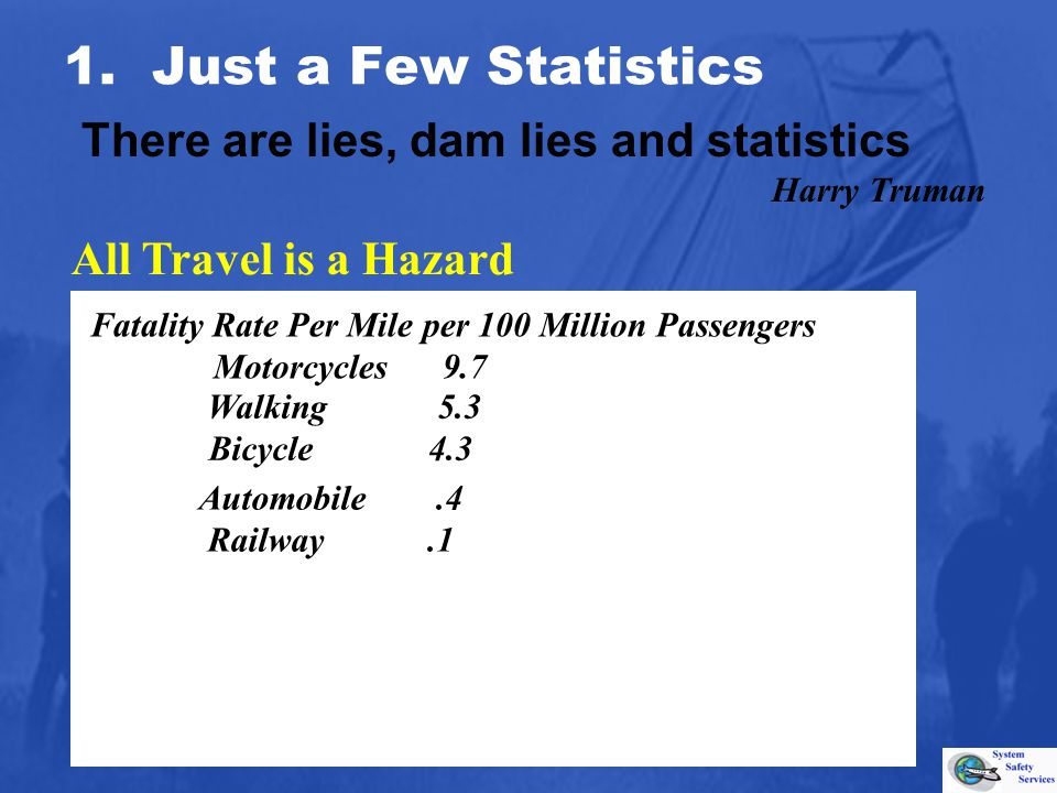 Walking 5.3 Bicycle 4.3 All Travel is a Hazard 1. Just a Few Statistics There are lies, dam lies and statistics Harry Truman Fatality Rate Per Mile pe