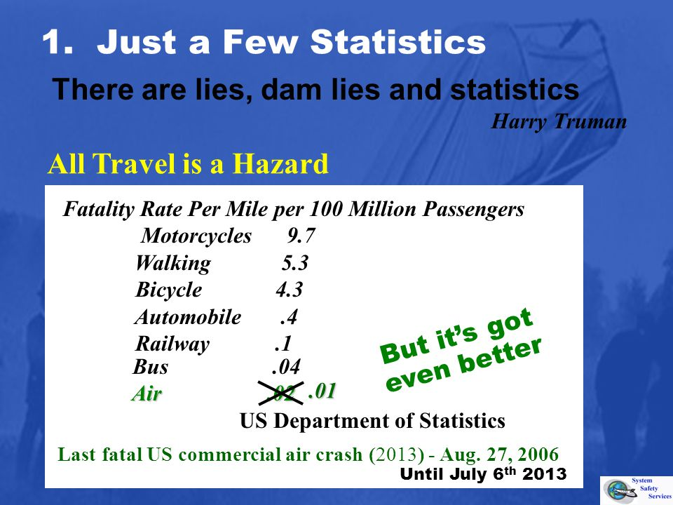 Bus.04 Air.02 US Department of Statistics All Travel is a Hazard But its got even better 1. Just a Few Statistics.01 There are lies, dam lies and stat