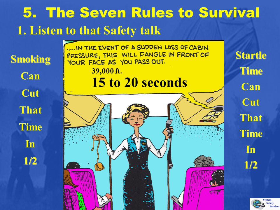 5. The Seven Rules to Survival 1. Listen to that Safety talk 39,000 ft. 15 to 20 seconds StartleTime Can Cut That Time In1/2 Smoking Can Cut That Time